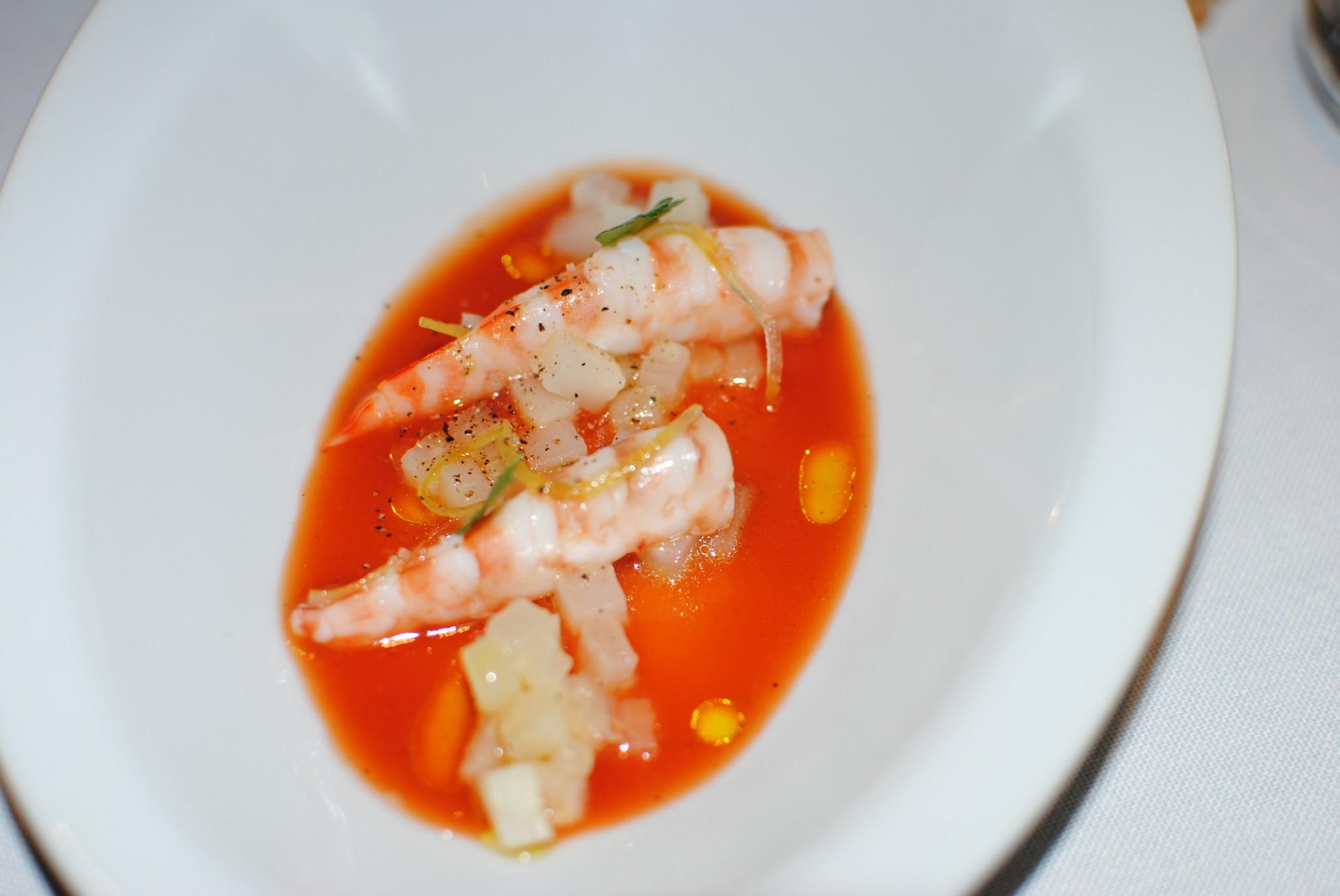 Sopa de tomate y gambas Montia San Lorenzo del Escorial