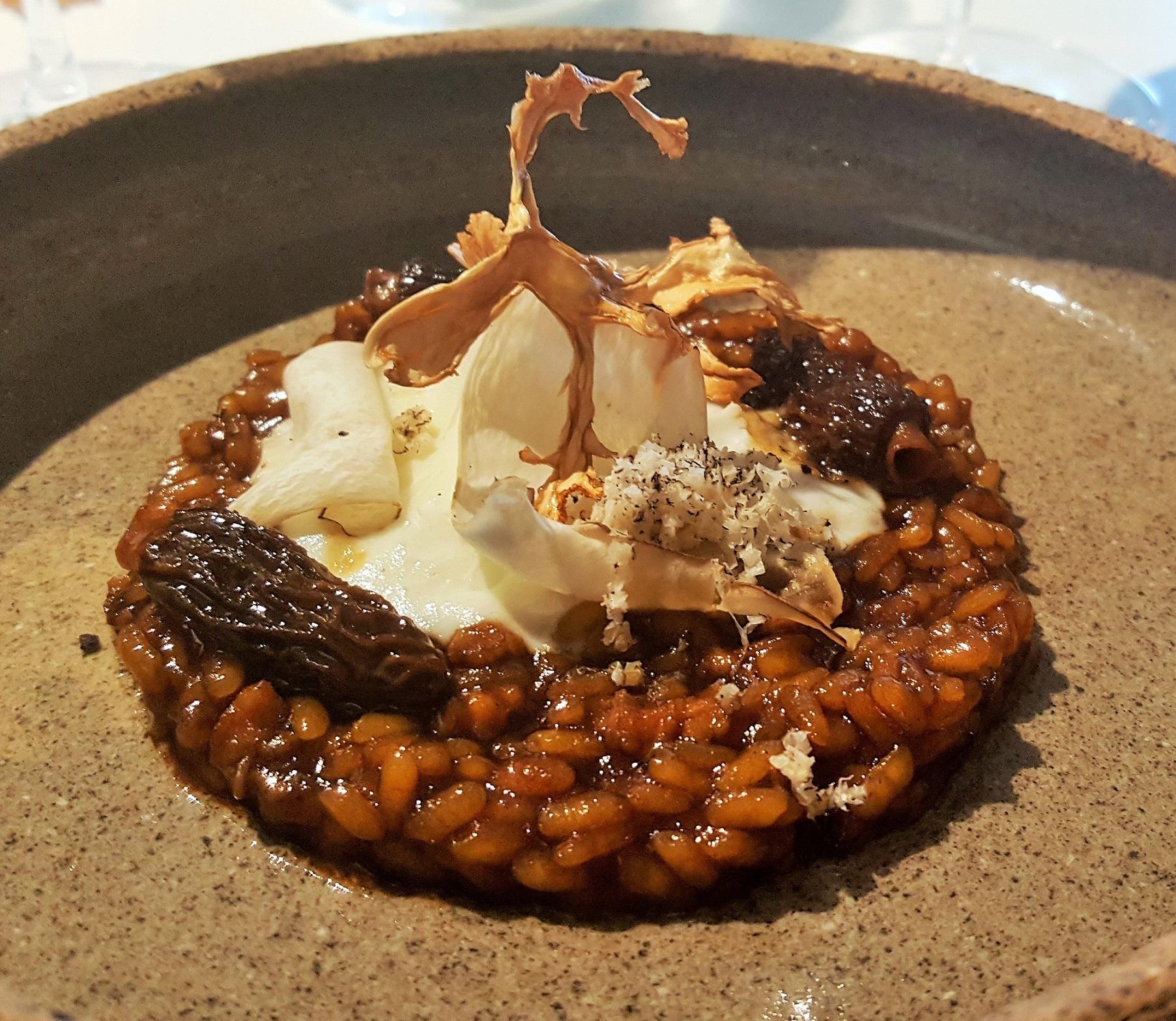 Arroz oveja churra, mollejas, setas y coliflor Quique Dacosta